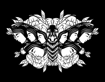 Vector hand drawn illustration of moth with female faces on the wings with flowers.  Tattoo art. Template for card, poster banner print for t-shirt. Ilustrace