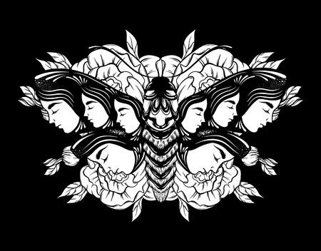 Vector hand getrokken illustratie van mot met vrouwelijke gezichten op de vleugels met bloemen. Tattoo kunst. Sjabloon voor kaart, poster banner afdrukken voor t-shirt. Stock Illustratie