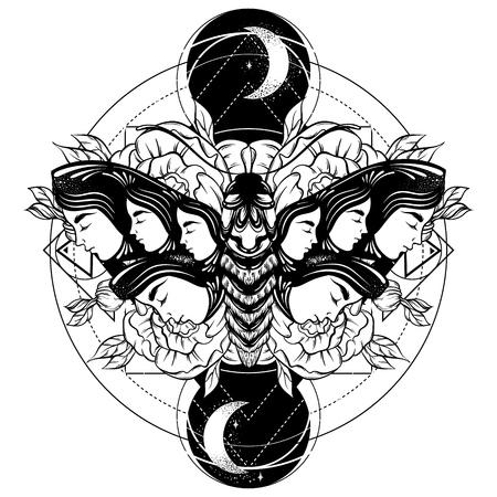 Vector mano dibujada ilustración de polilla con rostros femeninos en las alas con flores. Arte del tatuaje Plantilla para tarjeta, impresión de banner de cartel para camiseta.