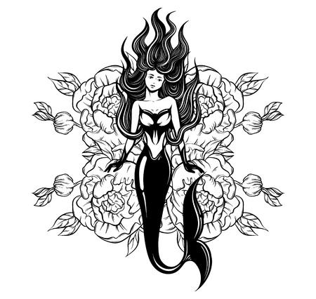 Vector illustratie van mooie zeemeermin met lang haar, en bloemen gemaakt in realistische hand getrokken schets lijnstijl. Sjabloon voor poster poster banner sticker badge en afdrukken voor t-shirt