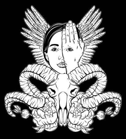 Vector hand drawn illustration of woman face with eye on her hand and wings. Surreal artwork with ram skull and flowers. Template for card, poster, banner, print for t-shirt.