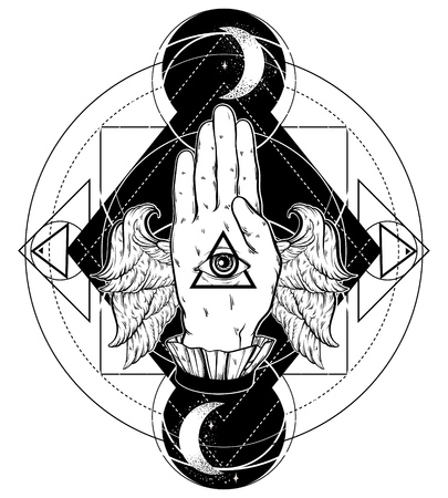 Vector hand drawn illustration of hand of witch with wings. All seeing eye pyramid symbol. Tattoo hand sketched artwork. All seeing eye pyramid symbol. Template for card, poster, banner, print for t-shirt. Ilustração