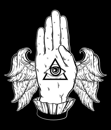 divination: Vector hand drawn illustration of hand of witch with wings. All seeing eye pyramid symbol. Tattoo hand sketched artwork. All seeing eye pyramid symbol. Template for card, poster, banner, print for t-shirt. Illustration