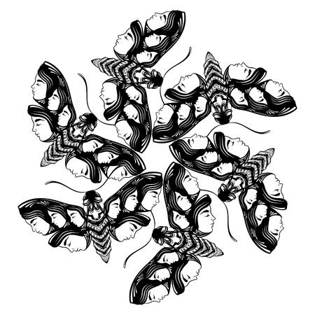 ロゴベクトルの手は翼で女性の顔を持つ蛾の図を描画します。ファンタジー、オカルト、入れ墨の芸術。カード用テンプレート、ポスター バナー印