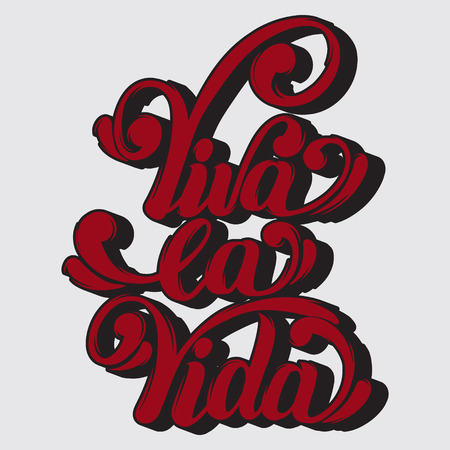 Viva la vida. Vector quote typographical background with unique lettering. Hand drawn artwork. Template for card, poster, banner, print for t-shirt.