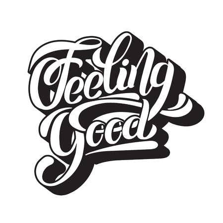 Gut fühlen. Einzigartige handgeschriebene Beschriftung des Vektors. Aquarell Textur. Vorlage für Karte, Poster, Banner, Druck für T-Shirt. Vektorgrafik