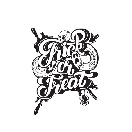 Trick or treat. Vector quote typographical background with handwritten lettering. Hand drawn illustration of ghosts, spider, human skull. Template for card, poster, banner, print for t-shirt.