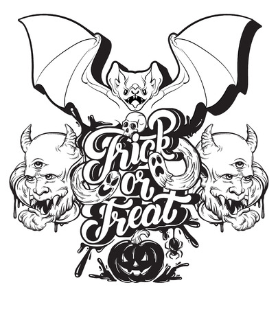 Trick or treat. Quote typographical background with handwritten lettering. Hand drawn illustration of Jack OLantern, ghosts, spider, human skull. Template for card, poster, banner, print for t-shirt.