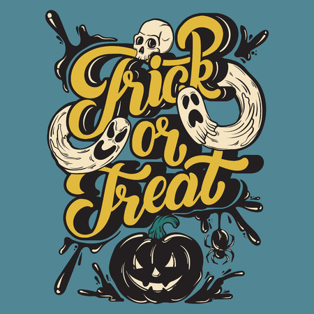 Trick or treat. Vector quote typographical background with handwritten lettering. Hand drawn illustration of Jack OLantern, ghosts, spider, human skull. Template for card, poster, banner, print for t-shirt.