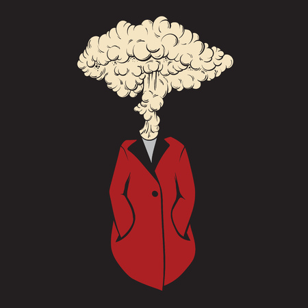 Vector hand drawn unique illustration of person with burst instead head. Creative artwork. Template for card, poster, banner, print for t-shirt.  イラスト・ベクター素材