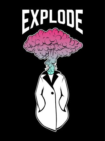 Mano de vector dibujado ilustración única de persona con ráfaga en lugar de cabeza. Ilustraciones creativas. Plantilla para tarjeta, póster, banner, impresión para camiseta con letras.