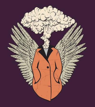 Mano de vector dibujado ilustración única de persona con ráfaga en lugar de cabeza y alas. Ilustraciones creativas. Plantilla para tarjeta, póster, banner, impresión para camiseta. Ilustración de vector