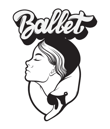 Ballet. Vector handwritten lettering. Hand drawn portrait of ballerina with swan.  Template for card, poster, banner, print for t-shirt, label. Illustration