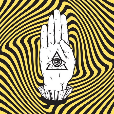 distort: Vector hand drawn illustration of female hand with all seeing eye pyramid on the hypnotic background. Template for card, poster, banner, print for t-shirt. Illustration