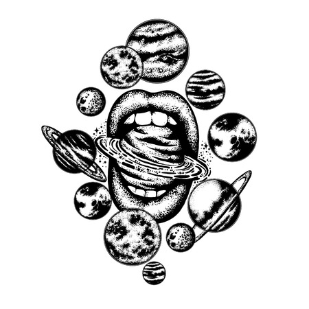 Vector hand getrokken illustratie van de mond van vrouwen met planeten, zon en maan. Zonnestelsel gemaakt in de hand geschetste stijl. Tattoo kunstwerken. Sjabloon voor kaart, poster, banner, afdrukken voor t-shirt.