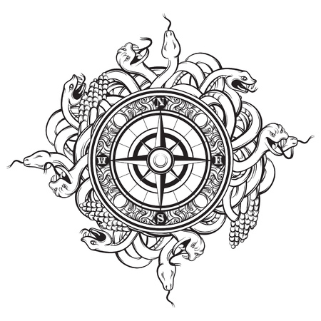 Vector hand drawn illustration of vintage compass and bunch os snakes. Tattoo artwork. Template for card, poster, banner, print for t-shirt. Illustration