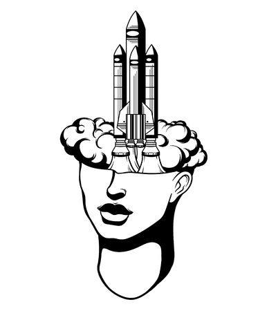 esoterism: Vector hand drawn  illustration of  female head with rocket. Surreal tattoo artwork. Template for card, banner, print for t-shirt.