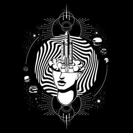 Vector dibujado a mano ilustración de cabeza femenina con cohete. Arte del tatuaje surrealista. Plantilla para tarjeta, pancarta, estampado para camiseta.