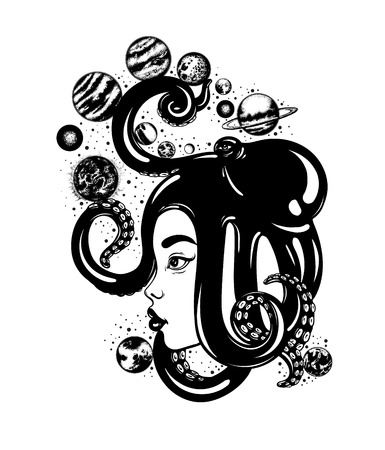 Vector hand drawn illustration of womens head with octopus,  planets, sun and moon. Solar system made in hand sketched style. Template for card, poster, banner, print for t-shirt.