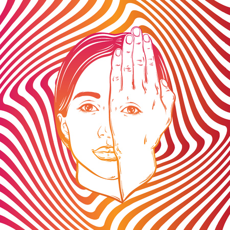 Vector hand drawn illustration of girl with eye on hand on the hypnotic background. Template for card, poster, banner, print for t-shirt.