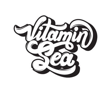 Vitamin sea. Quote typographical background. Vector handwritten lettering. Template for card, poster, banner, print for t-shirt.