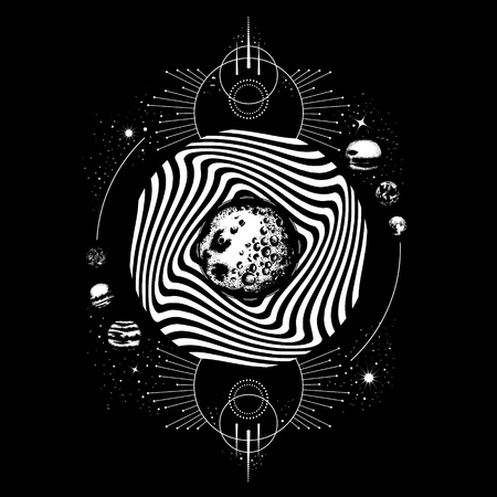 Vector hand drawn realistic  illustration of moon. Surreal artwork with planets and geometrical composition. Template for card, banner, print for t-shirt.