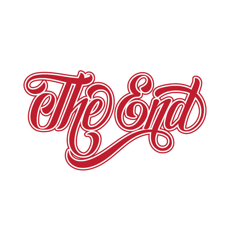 Vector handwritten lettering  The end made in vintage style. Template for card, banner, print for t-shirt.