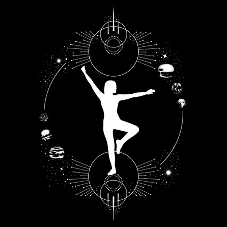Vector hand drawn  illustration with female silhouette. Surreal artwork with planets and geometrical composition. Template for card, banner, print for t-shirt.