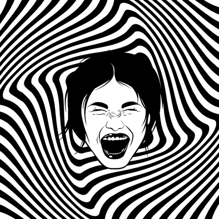 Vector hand drawn illustration of screaming girl. Emotional realistic portrait. Template for card, poster, banner, print for t-shirt. 일러스트
