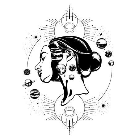 Vector hand drawn illustration of young beautiful woman,  geometrical composition and planets. Template for card, poster, banner, print for t-shirt. Illustration
