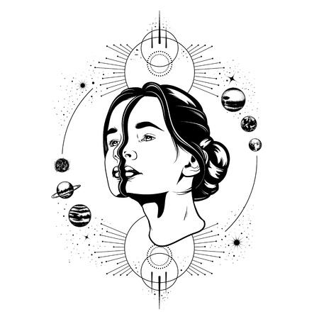 Mano de vector dibujado ilustración de mujer hermosa joven, composición geométrica y planetas.