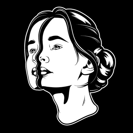 Vector mano dibujada ilustración de joven bella mujer. Ilustraciones surrealistas del tatuaje. Plantilla para tarjeta, póster, banner, impresión para camiseta. Ilustración de vector