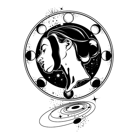 Vector hand drawn illustration of young beautiful woman, geometrical composition and planets. Template for card, poster, banner, print for t-shirt.