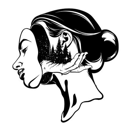 Vector mano dibujada ilustración de joven bella mujer. Ilustraciones surrealistas del tatuaje con el bosque en la mano humana. Plantilla para tarjeta, póster, banner, impresión para camiseta.