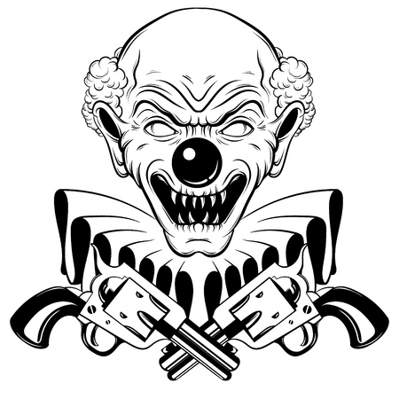 Vector hand drawn  illustration of angry clown with guns isolated. Tattoo artwork in realistic line style. Portrait of ugly clown.  Template for card, poster, banner, print for t-shirt, label, textiles.  Highly detailed sketch.