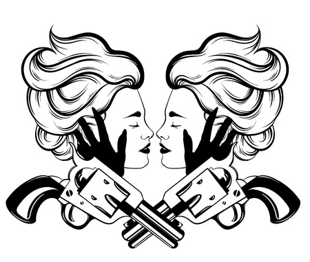 Hand drawn illustration of couple of women with vintage guns isolated.