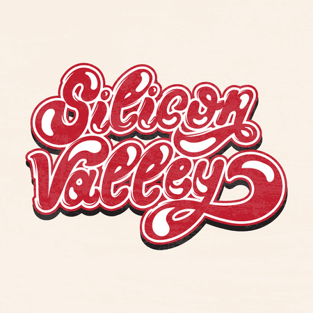 Silicon Valley. Vector hand drawn lettering isolated. Inscription made in vintage style. Template for card, poster, banner, print for t-shirt, label, textiles.