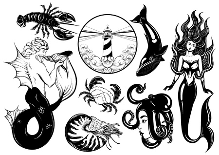 Vector collection of hand drawn realistic illustration of marine characters. Fashion patche badges. Template for card, poster, banner, print for t-shirt, logotype, pins, textiles.