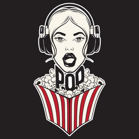 Singing girl with pop corn box Illustration