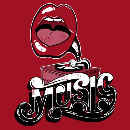 Muziek. Vector handgeschreven letters. Hand getrokken illustratie van surrealistische grammofoon met mond. Sjabloon voor kaart, poster, banner, afdrukken voor t-shirt, plakkaat