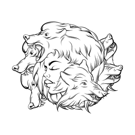 Vector illustration of young beautiful girl with angry wolf's muzzle. Mythological magic religion  motif, tattoo design element. Template for card poster banner print for t-shirt