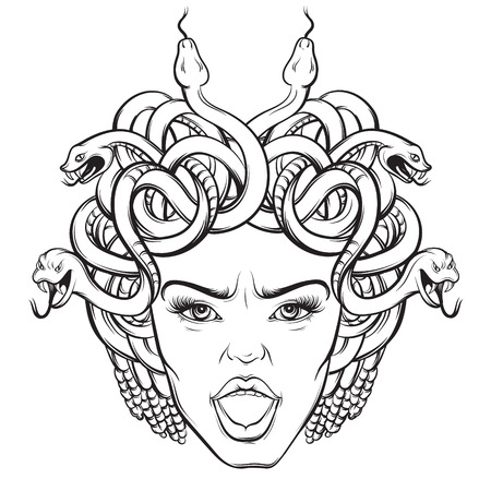 Vector illustration of angry gorgon with snakes and open mouth in hand drawn cartoon realistic style. Artwork hand sketched. Template for postcard, banner, poster, placard, print for t-shirt.