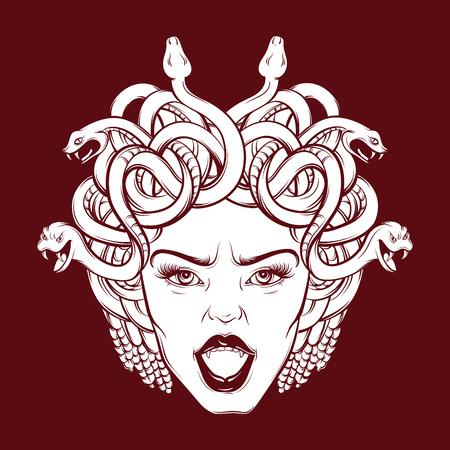 ●手描きの漫画リアルなスタイルでヘビと口を開いた怒ったゴルゴンのベクトルイラスト。アートワークハンドスケッチ。はがき、バナー、ポスタ