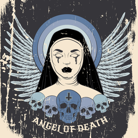 Angel of death. Colorful vector illustration of blind nun with human skull blood and cross made in hand drawn line realistic style. Template for card poster banner print for t-shirt