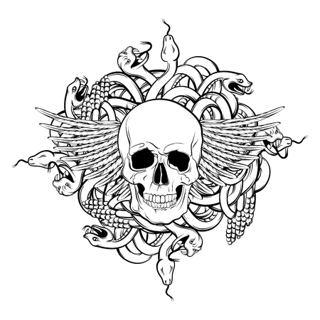 Vector illustration of realistic human skull with wings and bunch of snakes in hand drawn style. Artwork in dark fashion rocker and biker style. Template for card.