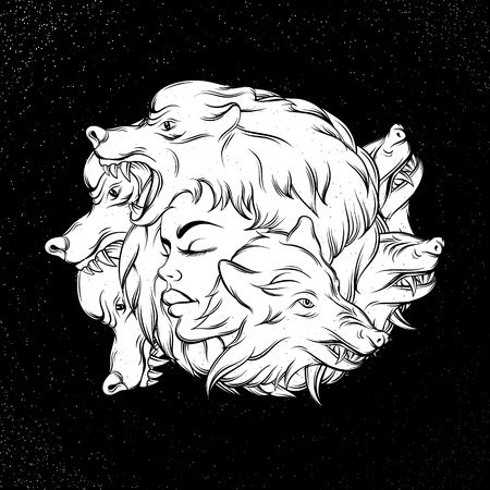 Vector illustration of young beautiful girl with angry wolfs muzzle. Mythological magic religion  motif, tattoo design element. Template for card poster banner print for t-shirt Illustration