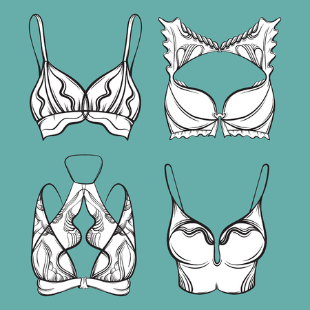 Vector illustration of beautiful collection of bra made in hand drawn sketch style. Artwork in  hand sketched  cartoon style. Template for card poster banner print.