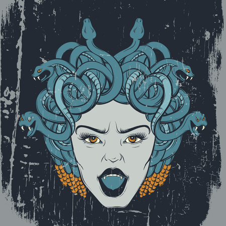 Vector colorful  hand drawn illustration of gorgon in hand sketched realistic style. Artwork with portrait of gorgon. Template for card, posster, banner, print for t-shirt.