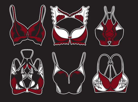 Vector illustration of beautiful collection of bra made in hand drawn sketch style. Artwork in  hand sketched  cartoon style. Gothic dark fashion style. Template for card poster banner print.