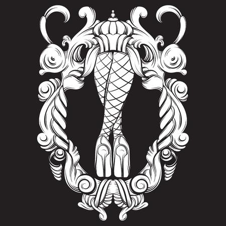 Creatieve vectorillustratie van vrouwenbenen in barogue-kader. Surrealisme kunstwerk. Sjabloon voor briefkaart banner vintage poster afdrukken voor t-shirt Stockfoto - 93460707